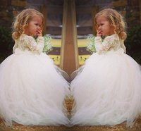 Wholesale communion dresses lace bodice - Vintage Lace Flower Girl Dresses Long Sleeves Princess Jewel Lace Bodice Sweep Train Long Kids Gowns for Weddings Handmade Toddler Gowns