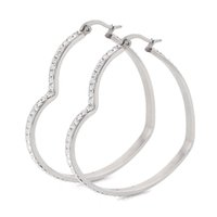 Atacado- Big Hearts Hoop Earrings CZ Rhinestone Stainless Steel Basketball Wives Jóias Fashion Jewellery Gift For Women