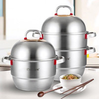 Wholesale Soup Pot Stainless Steel Steamer - 26cm-36cm Stainless Steel German Steamer 2-3 Layers Thicken Soup Pot Induction Cooker Universal Double Boilers Custom Kitchen Supplies