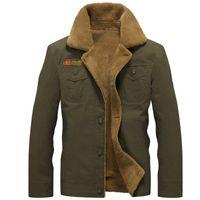 Wholesale Mens Pilot Jacket Fur - Winter Jacket Men Air Force Pilot Jacket Outerwear Cotton Thick Fur Collar Warm Military Tactical Mens Jacket Coat