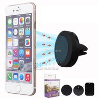 Wholesale Galaxy Car Mount - Car Holder For Iphone 6 Car Mount Air Vent Magnetic Universal Mobile Phone Holder For Samsung Galaxy S7 S6 Car Holder With Retail Package