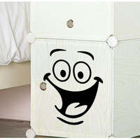 Wholesale Furniture Stickers Decals - Smile face Toilet stickers diy personalized furniture decoration wall decals fridge washing machine sticker Bathroom Car Gift