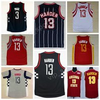 Wholesale Cheap Vintage Clutches - Vintage 13 James Harden Basketball Jerseys Cheap Men 3 Chris Paul Jersey Red White Black Gray Alternate Chinese Red Pride Clutch City