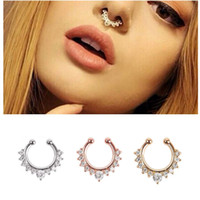 Wholesale New Nose Piercing Jewelry - New Arrival Alloy Nose Hoop Nose Rings Body Piercing Jewelry Fake Septum Clicker Non Piercing Hanger Clip On Jewelry
