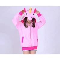 hoodies unicorns toptan satış-Yeni Yenilik Kadınlar Hoodies Moda Karikatür unicorn Tişörtü Eşofman Kadın gardigan hoodies Kız Kış sevimli Kapşonlu Ceket