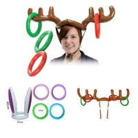 Wholesale Kids Reindeer Antlers - Inflatable Reindeer Antler Ring Hats Toss Holiday Party Game Supply Toys for Children Kids Christmas Gifts Items