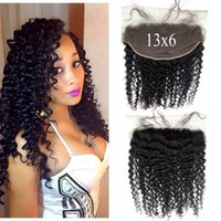 Wholesale Swiss Lace Frontals - Virgin Deep Curly Lace Frontals With Baby Hair Malaysian Deep Wave Hair Closure 13x6 Swiss Lace G-EASY