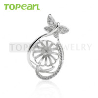 Wholesale Sterling Silver Jewelry Blanks - 9PM160 Teboer Jewelry 3pcs LOT Pendant Blanks Cubic Zirconia 925 Sterling Silver Pearl Pendant Semi Mounting