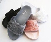 Wholesale Slippers Cheap Flat - Cheap New RIHANNA LEADCAT FENTY WOMEN SLIPPERS Girls Fashion Indoor Slide Sandals Scuffs Grey Pink Black White