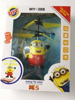 Wholesale Despicable Plastic - Electric Aircraft Flying Toys Lighted Eyes Helicopter Despicable Me Minion Quadcopter Drone Airplane Hand Induction Mini Toys for Kids Gifts
