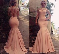 Wholesale taffeta trumpet button back - Peach Pink Mermaid Prom Dresses Lace Sheer Neck Illusion Long Sleeves Prom Dresses Back Covered Buttons Sweep Train Formal Dresses