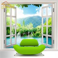 Wholesale Window Insulation Roll - Wholesale-Custom 3D Mural Wallpaper Window 3D Waterfalls Forest View Art Mural Living Bedroom Hallway Children's Room Photo Wallpaper
