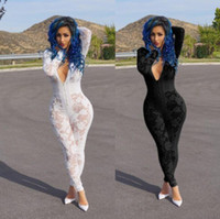 Wholesale Ladies Lace Rompers - 2017 Hot Sale Exotic designer v-neck lace rompers sexy club wear ladies long rompers jumosuits K8114