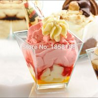 Wholesale Wholesale Ice Cream Cups - Wholesale- 100pcs lot Festival Party Disposable Dessert Cup Ice Cream Mini Cup Plastic Cake Cup 4 OZ With Lid For Wedding Event