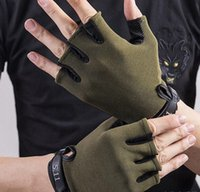 Wholesale Wearing Baseball Glove - Pair Outdoor Sport Gloves Slip Wear-Resistant Gel Half Finger Gym Riding Cycling Gloves For Men and women
