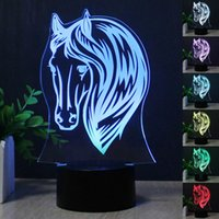 Wholesale Change Table Lamp - 2017 NEW Horse Head 3D LED Table Lamp Colorful 7 Color Change Acrylic Night Light Decoration Lamp Gifts