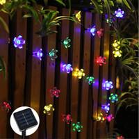ingrosso fiori di giardino solare potenza-All'ingrosso-50 LED 7M Peach Sakura Flower Solar Lamp Power LED String Fairy Lights Solar Ghirlande Garden Decorazioni di Natale per esterni