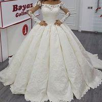 Wholesale Cheap White Church Dresses - Elegant Long Sleeve Illusion Applique 2017 Wedding Dresses Sheer Lace Church Train Cheap Plus Size Bridal Ball Gowns robe de mariage