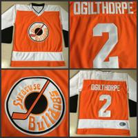 Wholesale Full Shoot - #2 OGIE OGILTHORPE Syracuse BULLDOGS Hockey Jerseys SLAP SHOT OGILTHORPE Movie Jersey All Stiched Hockey Jersey