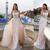 Wholesale Detachable Tail Wedding Dress - Fashionable Lace Wedding Dress 2017 Light Pink Removable Beading Sash Detachable Tail Chapel Train Robe De Mariage