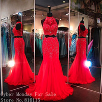 Wholesale Modest Prom Dresses Champagne Color - Modest Red Color Long Evening Dresses 2017 Fashion High Neck Lace Appliques Two Pieces Prom Dress Formal Evening Party Gowns