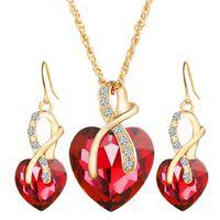 Wholesale Dinner Gift Set - Women's Austria Zircon Crystal Alloy Necklace Earrings Jewelry Set Heart Shape Pendant Stud Earrings Women's Wedding Dinner Luxury Jewelry