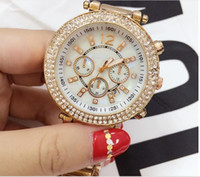 Wholesale Gold Watch Diamonds Cheap - cheap minimalist high quality american women thin dress luxury rhinestone crystal diamond rose gold Digital calendar watches for girl gifts