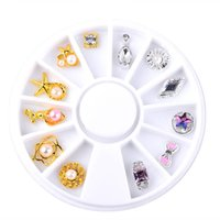 Wholesale Diamond Pearl Nail Art - New Nail Decorations Star Rhombus Diamond Pearl Metal Gold Silver 3D Nail Art Wheel Metal Manicure DIY Nail Ornaments 2017 Hot