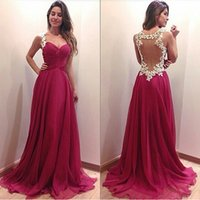 Wholesale Sexy Elegant Beads Sweetheart Chiffon - Charming 2017 Sweetheart Illusion Back Sexy Prom Dresses Long Elegant Lace Appliqued Beads Formal Party Gowns Custom Made EF70616