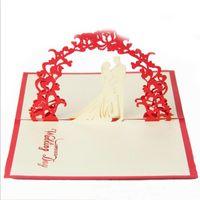 tarjetas hechas a mano para el día de la boda al por mayor-Invitaciones de boda de San Valentín de moda Invitaciones Regalo de delicadeza Regalo creativo hecho a mano Pop UP 10 * 15 cm Color rojo