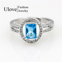 Wholesale Cheap White Sapphire Rings - Blue Sapphire Silver Jewelry Wedding Rings Austrian Crystal Bijouterie For lover CZ Diamond Ring Cheap Goods Y3377
