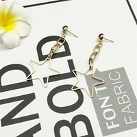 Wholesale Wholesale Metal Curb Chain - Hollow Metal Star Curb Chain Earring Stud Woman Fashion Copper Minimal Earring 18K Imitation Rhodium Geometry Punk Earring