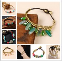 Wholesale Turquoise Water Beads Wholesale - 2017 Hot sales anklets women Anklet Nepal turquoise crystal Copper beads pendant souvenir Ankle Bracelet Foot Jewelry Fast Free Shipping 12