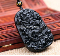 Wholesale Chinese Carving Beads - Wholesale- beautiful 55x42mm Chinese Handwork Natural Black Obsidian Carved Dragon Amulet Lucky pendant + beads necklace Fashion Jewelry