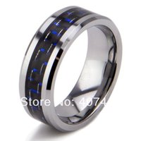 Frete grátis YGK JEWELRY Hot Sales 8MM BlueBlack Fibra de Carbono Inlay Bridal Band Tungsten Carbide Wedding Ring q170717