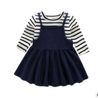 Wholesale Navy Stripes Dresses Baby - Baby girls outfits Infants cotton stripe long sleeve pullover+suspender dress 2pcs sets children Navy Style dress clothing Sets G1394