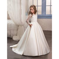 Wholesale Custom Printed Satin Ribbon - 2017 New Dresses for Little Girls Pentelei Cheap with Long Sleeves and Pockets Appliques Satin Ivory Party Flower Girl Dresses