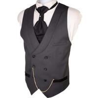costume homme gris foncé achat en gros de-Gros- Custom Made Dark Grey Hommes Suit Gilets Slim Fit Gilet formel pour homme mariage gilet gilet à double boutonnage