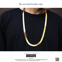 Wholesale Fishbone Chain - Fashion Mens 24k Gold Plated Snake Chain Necklace Keel Fishbone Hip Hop Width Chains Necklace Women Men Jewelry For Bar Club Male Female
