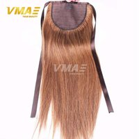 Wholesale Blonde Claw Hair Extensions - Ponytail Straight human Hair Brazilian ponytail tail claw 120g Clip In Human Hair Extensions horsetail Straight hair