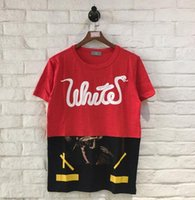 Wholesale Oil Paint Shorts - Off White new Men's T-Shirts snake joint Oil painting hip hop Short-sleeved Tshirt KANYE Stitching Round neck male Casual TEE Abloh Virgil