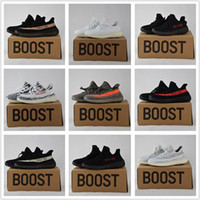Wholesale Men Shoes Low Cut - 2017 Best Quality Boost 350 Boost V2 Beluga Sply-350 Cheap Black White Black Peach Men Women Running Shoes Kanye West Boost 350 With Box