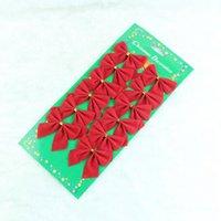 kravat dekoru toptan satış-Noel Kırmızı Bez Papyon Noel Ağacı Dekor Bauble Asılı Ev Partisi Süs Kolye Süslemeleri yeni