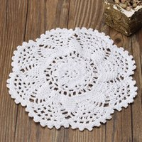 Wholesale Knitting Doily - Wholesale- Hot Sale White Flower Placemat Table Mat Handmade Cotton Round Doily Cup Pads Doilies Crochet Lace Knit Coaster