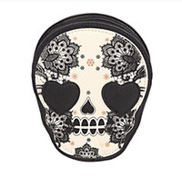 Wholesale Casual Messenger Bags For Women - Street Style Skull Floral Heart Cat Crossbody Bag Black Zipper Head Mini Dual Purposes Shoulder Messenger Bag for Women 1PCS drop ship
