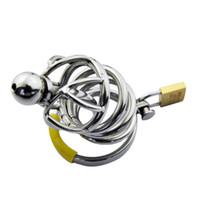 Wholesale Stainless Male Cage - Stainless Steel Chastity Cage with Urethral Sound Catheter Penis Plug Cock Cage Male Chastity Devices Penis Lock Sex Toys for Men G106