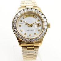 Wholesale Luxury Mother Pearl Fashion - New fashion Luxury Brand mens Watches Gold President Day-Date Big Diamonds Mother Pearl Dial Diamond Bezel Stainless Automatic mens watches