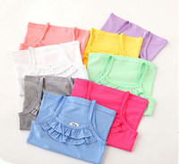 Wholesale Girl Vest Shirt Candy Summer - New Baby Kids Tank Top 8 colors Soft Cotton Tees Baby Girls Summer Candy colors Vest Underwear Kids ruffle T-shirt C2388