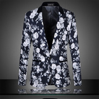Wholesale Stage Wear Jackets - Vintage Skinny Suit Blazer Men Printed Feathers Casual male coat Party Stage Wear Pattern Colorful Slim Fit Blazer Homme jackets M-6XL