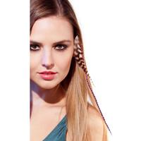 horoz tüyleri saç uzatması toptan satış-Renkli grizzly horoz tüy saç uzatma ucuz saç Takı saç uzantıları Klip Ücretsiz Kargo